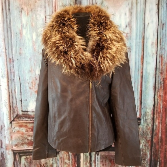 Women/'s 100 /% Lamb Leather Biker Jacket with Real Raccoon Fur  !
